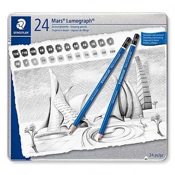 STAEDTLER 100-G24頂級藍桿素描鉛筆24入